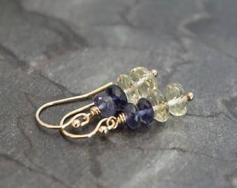 Lemon quartz earrings, Iolite earrings, Iolite jewelry gift, multi gemstone earrings, yellow earrings, 14k gold fill shepherd hook ear wires