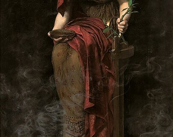 Oracle of Delphi - Pythia in Greek Mythology ~  John Collier Giclee Print - Mystical ~ Wiccan ~ Soothsayer ~ Clairvoyant - Supernatural art