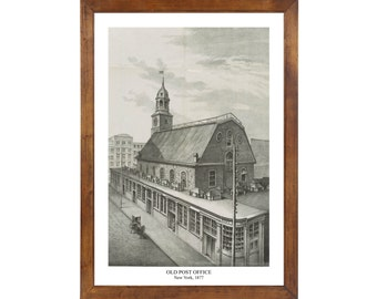 Old Post Office, New York, 1877; 24x36 inch print reproduced from a vintage painting or lithograph