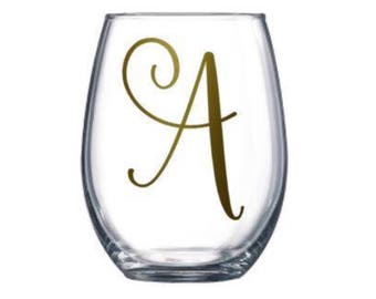 Single Letter Monogrammed Stemless Wine Glass. Monogram Initial. Bridesmaid. Bride. Bridal Party. Best Friend Birthday Gift. For her. Custom