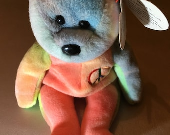 Peace Beanie Baby with Misprinted label