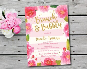 Bubbly and Brunch Invitation,  Floral Bridal Shower Invitation, Champagne Brunch Invitation, Bridal Shower Invite, printable
