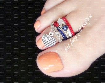 Stacking Toe Ring, Stacking Rings, Red White Blue Heart Charm Ring, Crystal Charm Ring, Stretch Bead Toe Ring