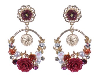 Floral Earrings, Baroque Floral earrings flowers earrings Flower earrings Flowers Rose earrings Roses Wedding rose Birthday Gifts for her