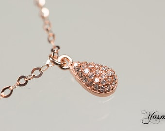 Drops with twinkle in rose gold-plated silver
