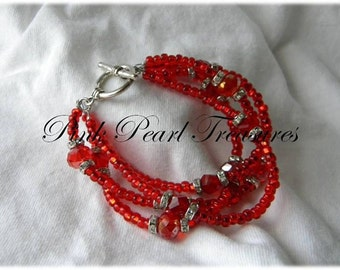 Red hot multi strand bracelet