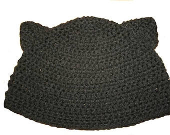 Hand Crocheted Black Cat Hat HH001