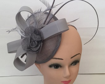 Elegant Fascinator with Headband and Clip Weddings Ladies Day Race Royal Ascot - Grey Colour