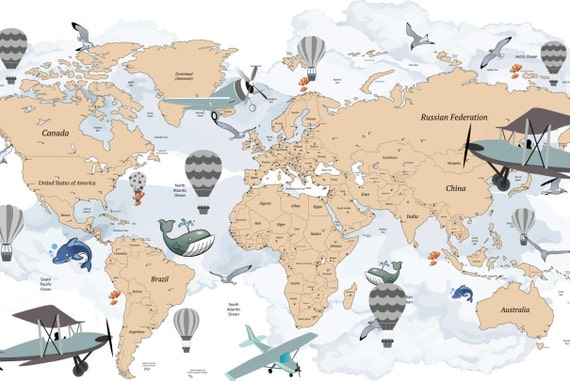 Avitation world map decal airplane map wall decal clear gumiabroncs Choice Image