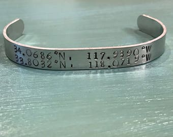 Latitude and Longitude custom cuff bracelet
