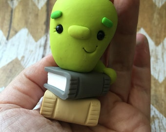Little Green Bookworm - Polymer Clay Sculpture - Cake Topper keepsake - Art by Sarah Price
