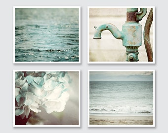 Bathroom Art Set Teal Bathroom Wall Decor Beach Bathroom Aqua Bathroom Decor Cottage Bathroom Art for Powder Room - Prints or Canvas Art.