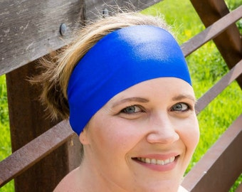 Royal Blue Spandex Headband - Solid Color Headband - Yoga Headband - Workout Headband - Biker Accessory - Fitness Apparel - Scrub Accessory