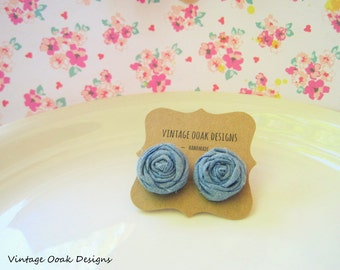 Denim Rosette Earrings, Sweet Jean Denim Earrings, Denim Studs, Rosette Denim Earrings,Clip on Earrings,Fabric Jewelry, Fabric Earrings
