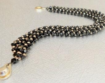 black crystal bracelet swarovski crystal jewelry women's bracelet seed bead bracelet gift for her black beaded bracelet edgy jewelry