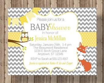 FOX BABY SHOWER Invitation Gray Chevron with Owl/Woodland Baby Shower Invitation/Owl Fox Forest Animals Invitation/Gray Chevron Yellow