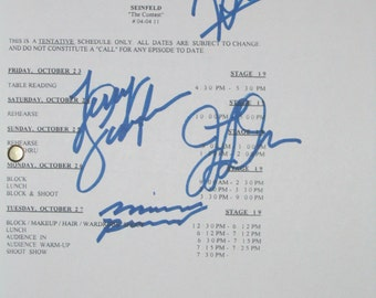 Seinfeld Signed TV Script Screenplay Autographs Jerry Seinfeld Michael Richards Jason Alexander Julia Louis-Dreyfus Signatures reprint