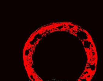 Enso, Kreis, rot, schwarz, Kunst Giclée-Druck, 4 x 6