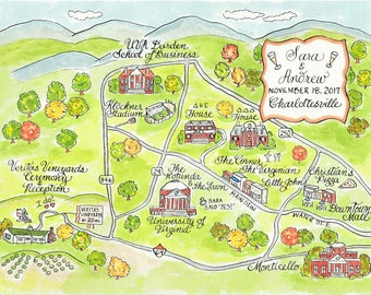 Custom Wedding Map - Charlottesville - Hand Drawn Wedding Map-Watercolor Map