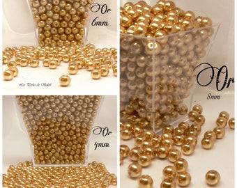 Perles  nacrées OR en verre    4mm, 6mm, 8mm, 10mm