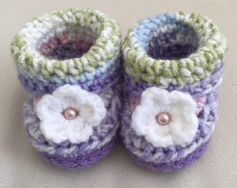 Crochet Baby Booties, Baby Girl, Newborn Slippers, Purple, Baby Shower Gift, Green, Flower