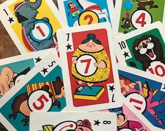 Vintage Circus Cards - Set of 11 - Crazy Eights, Vintage Children's Cards, Junk Journal, Collage, Vintage Cards, Vintage Paper Ephemera