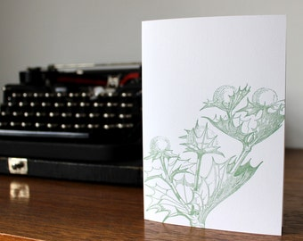Thistle Letterpress Greetings Card in Green
