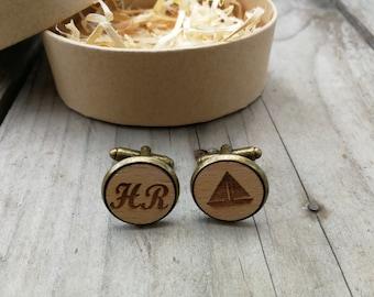 """gift set cufflinks """"sailing"""" / wedding / gift for men / letter"""