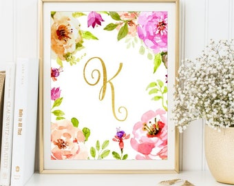 Nursery Letter Watercolor Flowers Gold Foil print, Calligraphy Monogram Art, Initials nursery sign Nursery Wall name Peony, DIGITAL FILE