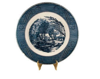 Vintage Blue Currier & Ives Dinner Plate // Currier and Ives Blue by Royal China Old Grist Mill Dinner Plate Reduced Price Imperfection