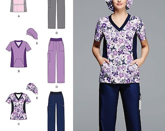 Simplicity Pattern 1020 Misses / Women's Scrub Pants and Top...Scrub Hat Included