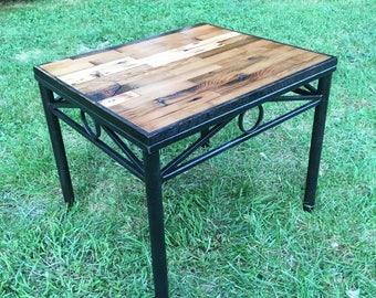 Reclaimed Pine & Oak Steel End Table