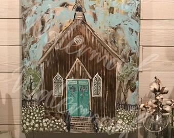 FARMHOUSE CHURCH PAINTING, farmhouse decor, Church painting, Cotton field, cotton boll decor,Farmhouse art, rustic decor