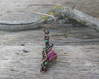 Fuchsia statement necklace- wire wrapped collar necklace- copper wire jewelry
