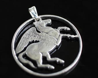 Greece Pegasus Pendant Necklace. Greek 10 Draxmai Coin. Hand Cut