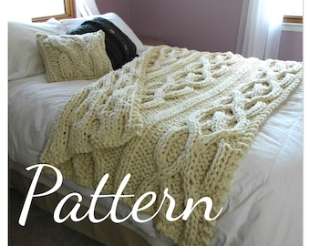 NEW!!  Luxury Cable Knit Blanket Pattern