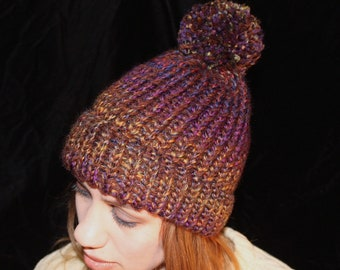 Pompom Hat in Autumn colors