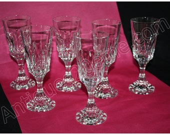 Set of 6 wine Burgundy Crystal Baccarat model établissements
