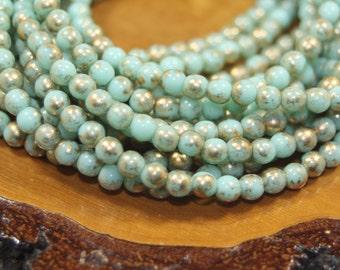 Czech Glass Beads, 4mm Round Druks, Mint and Gold, 50 Beads