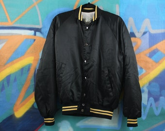black + gold snap up bomber jacket / athletic / sporty  >> medium <<