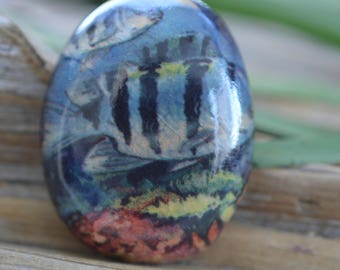 Sea Creatures-  Handmade Porcelain Cabochon
