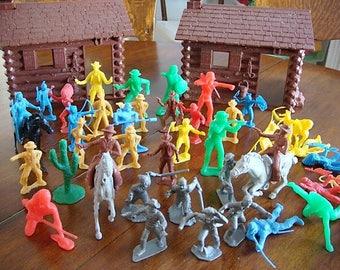 Vintage Log Cabin Cowboys Indians Soldiers Set Marx Toys Fort Log Cabin Cowboys and Indians