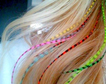 Sale Real Feather Hair Extensions 8 Long Hair Feathers - Colorful Bright GRIZZLY Streamer Feather Extensions 9-11inch Rainbow Rave Feathers