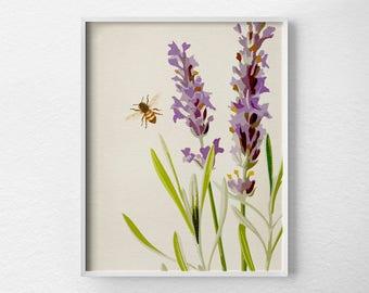 Bee Print, Lavender Botanical Print, Lavender Poster, Nature Print, Floral Art, Floral Print, Floral Poster, Bee Poster, Lavender Nursery