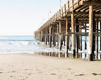 Vertical Wall Art, Ventura Pier, Beach Art, Coastal Decor, Blue White Brown, Coastal Wall Art, Pier Photograph, Beach Room Decor