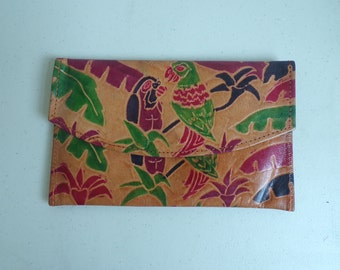 Multicolored Painted Clutch, Leather Bird Clutch, Bird Purse, Jungle Print, Leather, Painted Leather, Leather Clutch, 90s Colorful Wallet