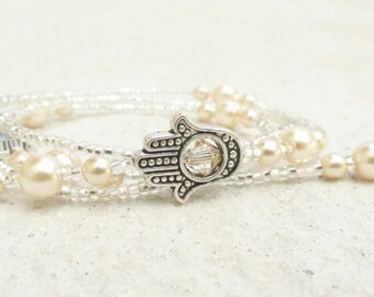 Hamsa Hand Eyeglass Chain, Cream Pearl Eyeglass Necklace Holder, Pearl Glasses Chain, Cream Glasses Chain, Coworker Gift Woman, Lanyard