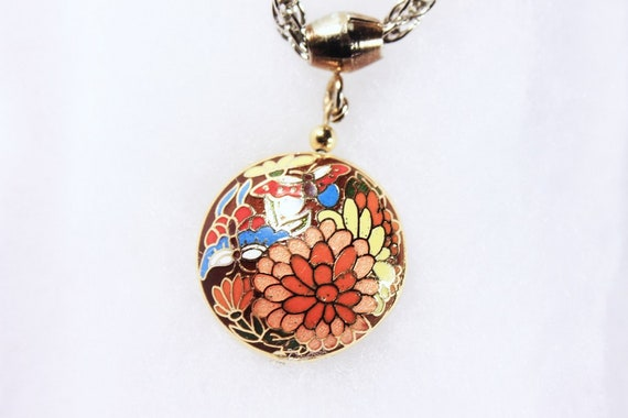 Cloisonne Pendant Necklace, Double Sided Pendant, Butterflies, Floral, Enamel, Jewelry, Costume Jewelry, Fashion Jewelry, Collectible