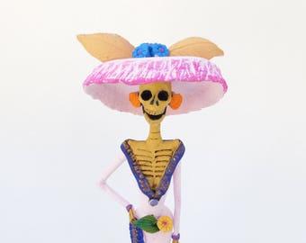 "Beautiful CATRINA handmade clay figurine day of the dead mexican folk art 12"""