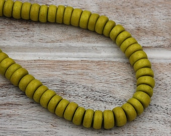FREE SHIPPING, Sunny Yellow-Green Wood Rondelle 8x5mm Beads